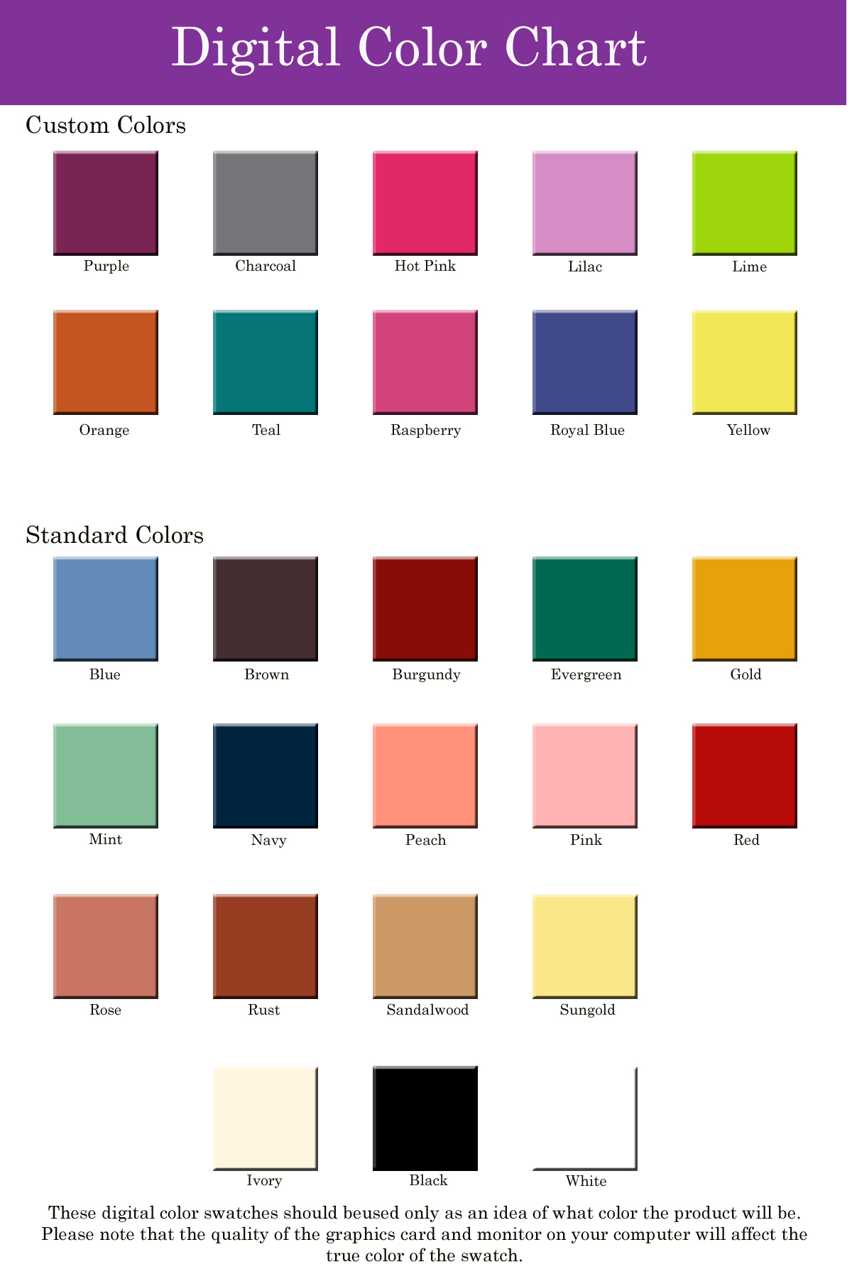 Digital Color Chart